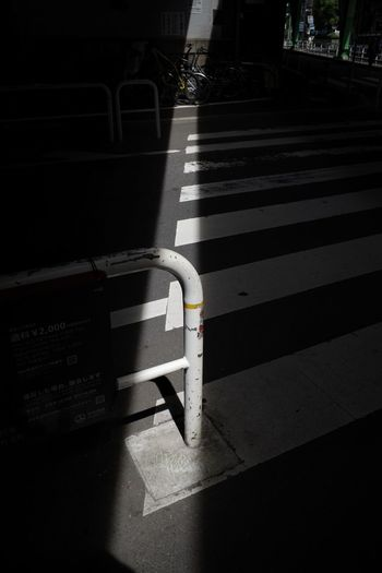 Under The Bridge Sunlight Shadow Transportation Marking Road Marking Road City Crosswalk Zebra Crossing Railing