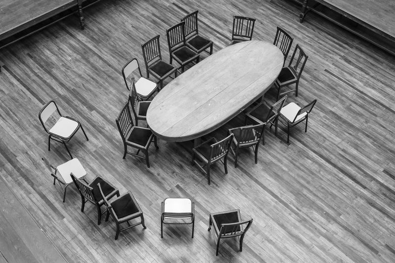 Absence Chair Empty Hardwood Floor High Angle View Indoors  No People Table Wood - Material
