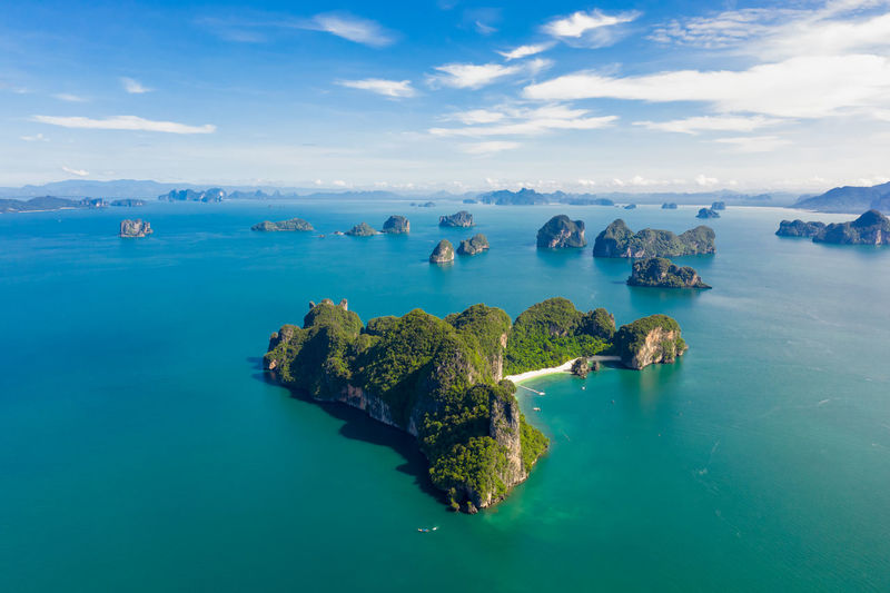 High angle seascape view at krabi thailand