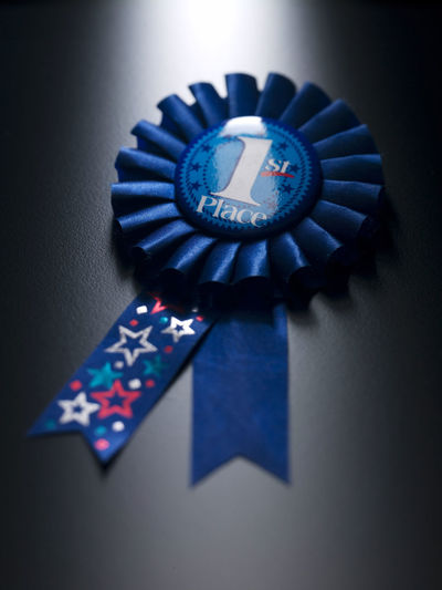 Number one medal on a blue ribbon 1 1st AWARD Achieve Achievement Blue Ribbon First First Place  Number One Close-up Competition First Prize High Angle View Honor Indoors  Medal No People One Person Ribbon - Sewing Item Shadow Shape Single Object Still Life Studio Shot Winner