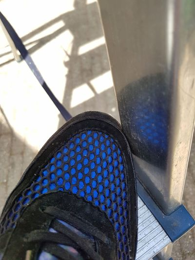 Shadow High Angle View Sunlight Blue Close-up Outdoors Blue Sneakers Ladder Blue Shoes Sneakers Sunlight Sunny Weather No People Selective Focus Out Of The Box