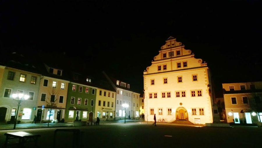 Exterior of illuminated town at night