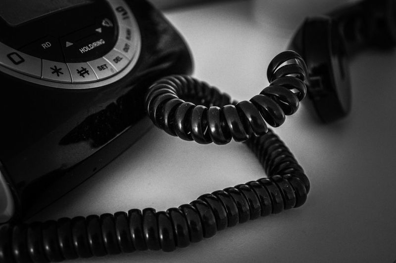 Telefon, Retro, Kommunikation, schwarz, weiß, phone, communication, black , white Telephone Technology Landline Phone Indoors  Connection Close-up Communication Retro Styled No People Antique Phone Cord Still Life Spiral Equipment The Past Cable Telephone Receiver My Best Photo
