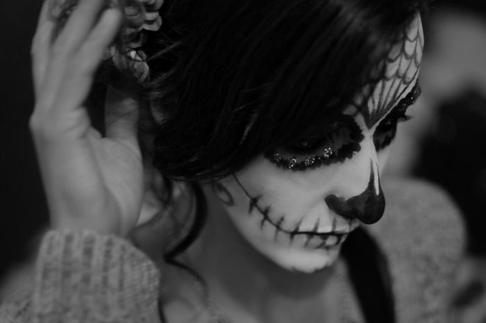 Halloween2015 Dia De Los Muertos 50mm 1.4 Halloween Makeup Halloween Horrors Happy Halloween Halloween Black And White Blackandwhite Photography