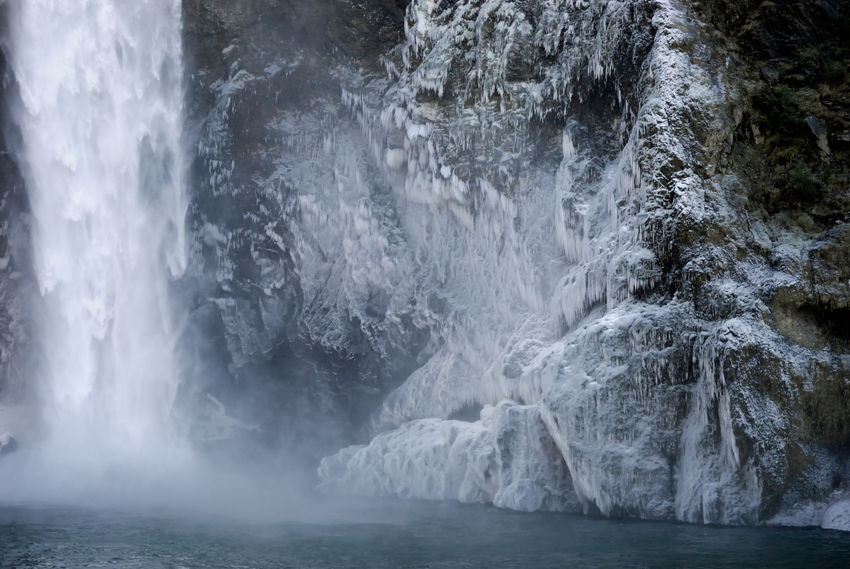 The creation of ice from flowing water. Snoqualmie Falls, Washington State Best EyeEm Shot Ice Misty Power Plant Shades Of Winter Snoqualmie Falls Water Falling Beauty In Nature Blue Water Day Foggy Frozen Nature Frozen Water Nature No People Outdoors Power In Nature Scenics Snoqualmie River Tranquility Water Waterfall