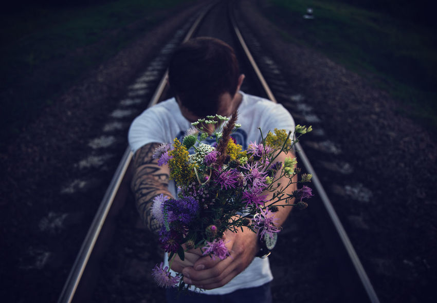 By Ivan Maximov Composition From My Point Of View Lifestyle Meadow Flowers Summer Flowers Bouquet Bouquet Of Flowers Colors Of Summer Day Depth Eyeem Photo Flower Flowers In Hand Freshness High Angle View In Hands Lifestyles Outdoors Railway Track Return Standing Summer Colors Take It Transportation