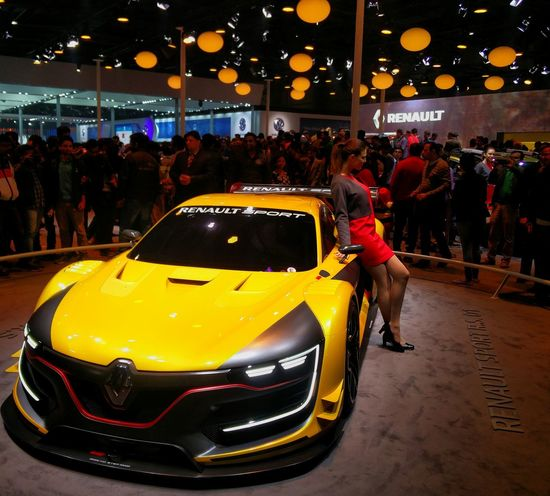 Red with Yellow Supercar from Renault RenaultSport at Autoexpo2016 in New Delhi India