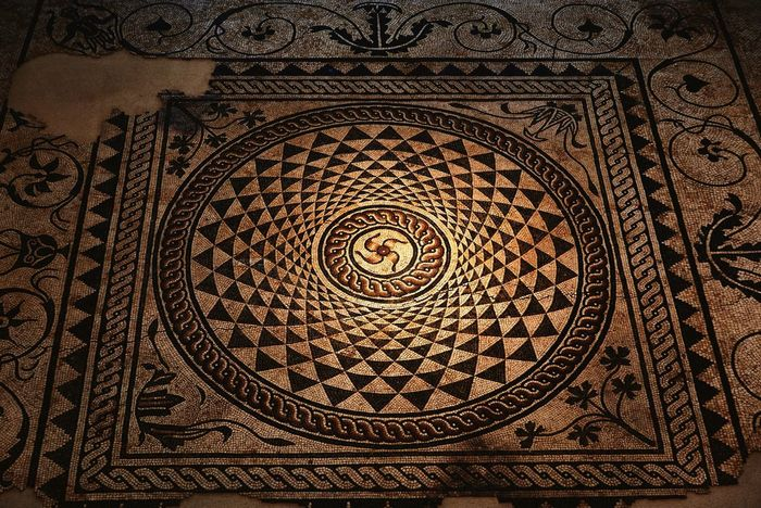 Roman floor mosaic. Photo taken in Musée Gallo-Romain. Pattern Design Ornate History Indoors  Architecture Travel Destinations Backgrounds Low Angle View No People Close-up Day Musée Gallo-Romain Roman Museum Roman Art Mosaic Floor Archeology The Week On EyeEm The Week On EyeEm The Week On EyeEm