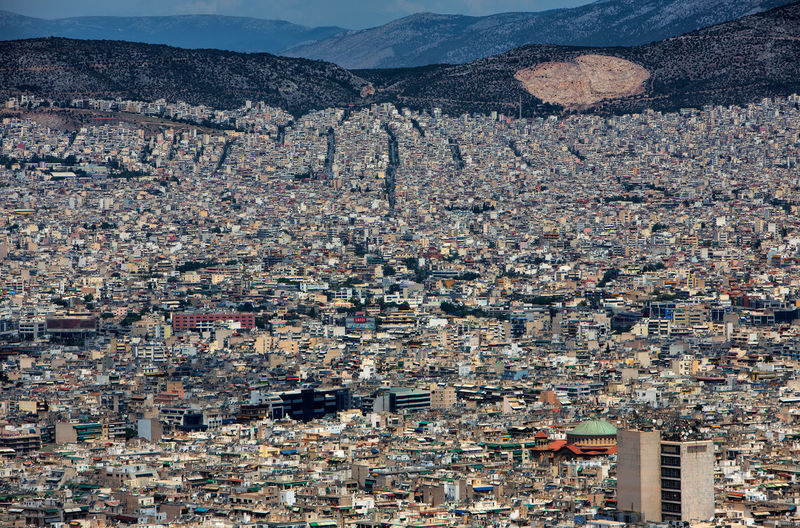 Cityscape of Athens. Athens Greece Athens, Greece Greece Photos Aerial View Architecture Athens Building Building Exterior Built Structure Capital Cities  City Cityscape Community Crowd Crowded Day Greece High Angle View Mountain Nature Outdoors Residential District Settlement Sky Town TOWNSCAPE Travel Destinations Urban Sprawl