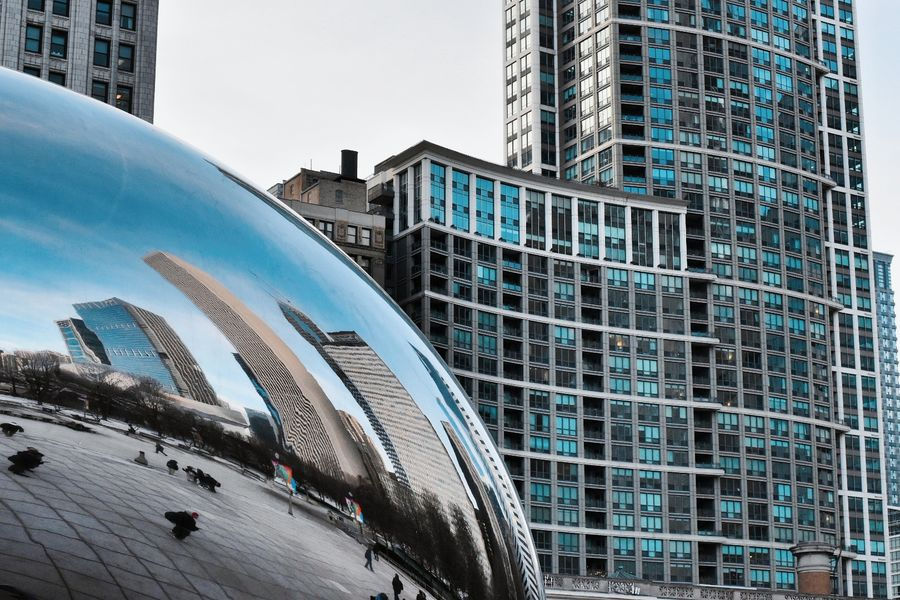 Bean Architecture Modern Building Exterior Skyscraper City Built Structure Office Building Exterior Urban Skyline Futuristic Cityscape City Life Reflection Travel Destinations Downtown District Steel Day Outdoors