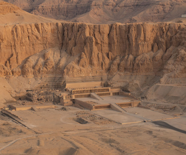 Hatshepsut Temple from the air, Luxor Egypt Hatshepsut Hatshepsut_Temple Luxor Aerial View Arid Climate Day Desert High Angle View Land Landscape No People Non-urban Scene Rock Scenics - Nature Tourism Travel Travel Destinations