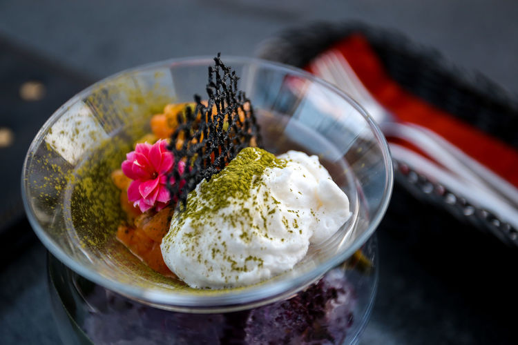 Close-up of ice cream in bowl on table