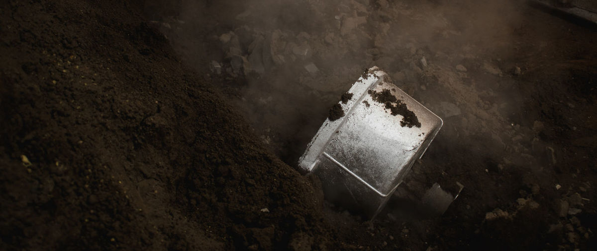 High angle view of old metal part