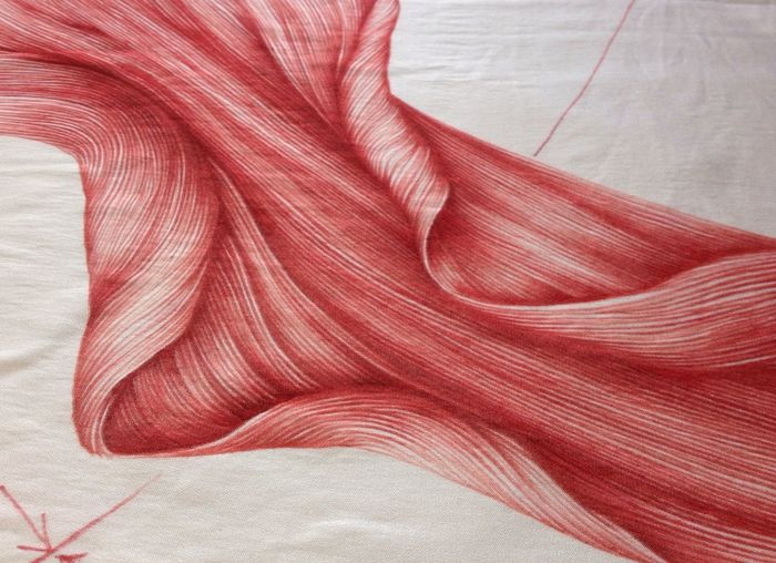 Spider lily Drawing on silk, this is a dye sample swatch. Finished :). Art Artist Abstract a bit of dark lines added.