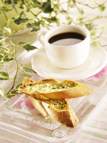confectionery, Garlic baguette and Coffee Breakfast Snack Bakery Close-up Coffe Coffee Cup Day Food Food And Drink Food Stories Freshness Garlic Baguette Garlic Bread Healthy Eating Indoors  No People Plate Ready-to-eat