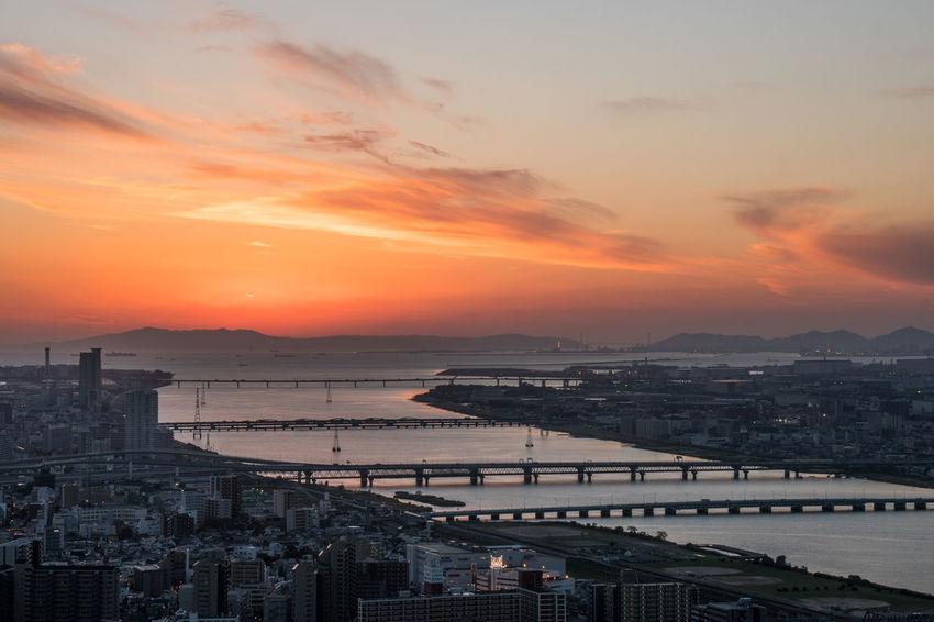 No People OSAKA Outdoors River Sky Sunset Water
