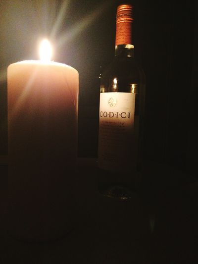 Illuminated Indoors  Candle Lighting Equipment Alcohol Bottle Wine Bottle Food And Drink Drink Wine Dark Fire Container