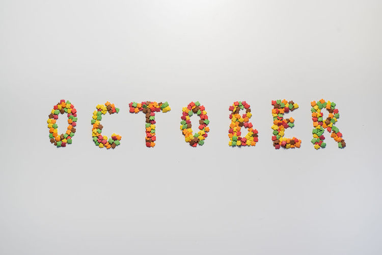 Directly above shot of multi colored candies against white background
