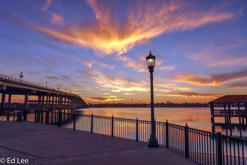 Halifax River Ormond Beach Sunrise_sunsets_aroundworld Sunset Florida Streamzoofamily Malephotographerofthemonth Water Sky Cloud - Sky Sunset Street Light Beauty In Nature Sea