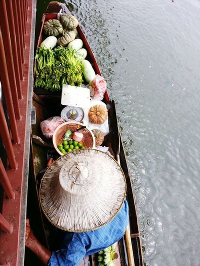 High angle view of various water in container