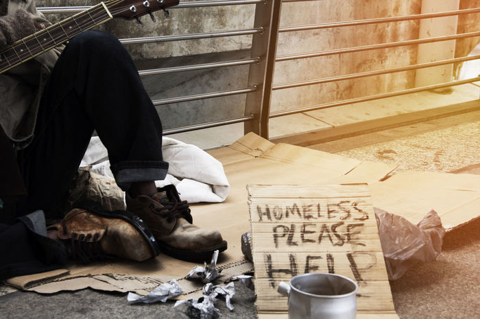 Homeless man on walkway street in the city. Home Homeless People Hopeless Hungry Please Poor  Dirty Help Help Me Helpless Homeless Homeless Man Homelessness  Human Body Part Human Leg Lifestyles Money One Person person Poor People  Problem Real People Street Streetphotography Young Men