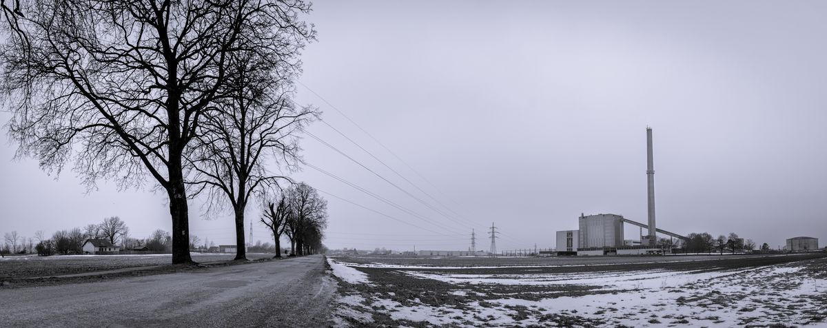 Blackandwhite Dark Lonely No Cars  Powerstation Snow Snowy Winter