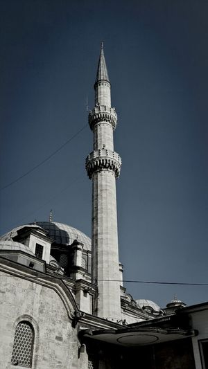 Low angle view of blue mosque against clear sky