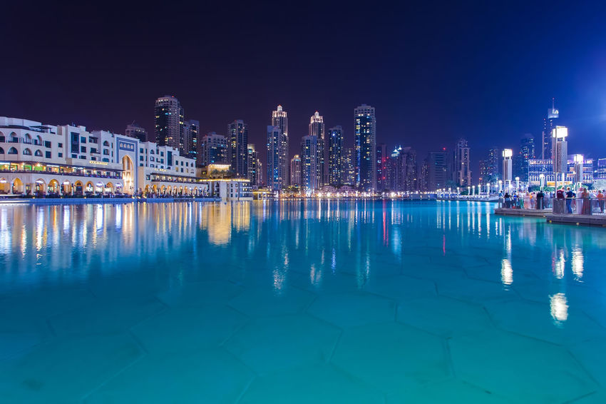 Marina Dubai Building Exterior Architecture Built Structure City Building Water Reflection Night Illuminated Office Building Exterior Sky Skyscraper Cityscape Landscape Urban Skyline Waterfront Residential District Nature Travel Destinations Modern No People Outdoors Swimming Pool Financial District