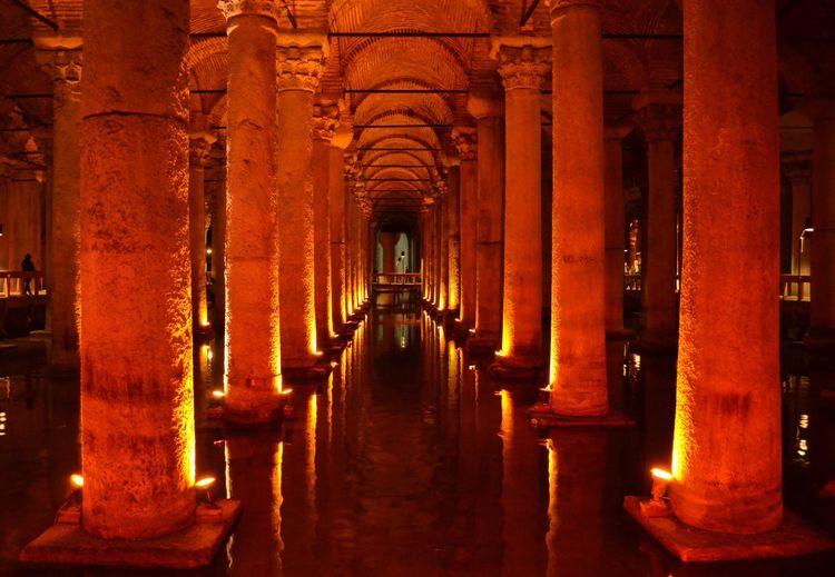 Interior of illuminated basilica cistern