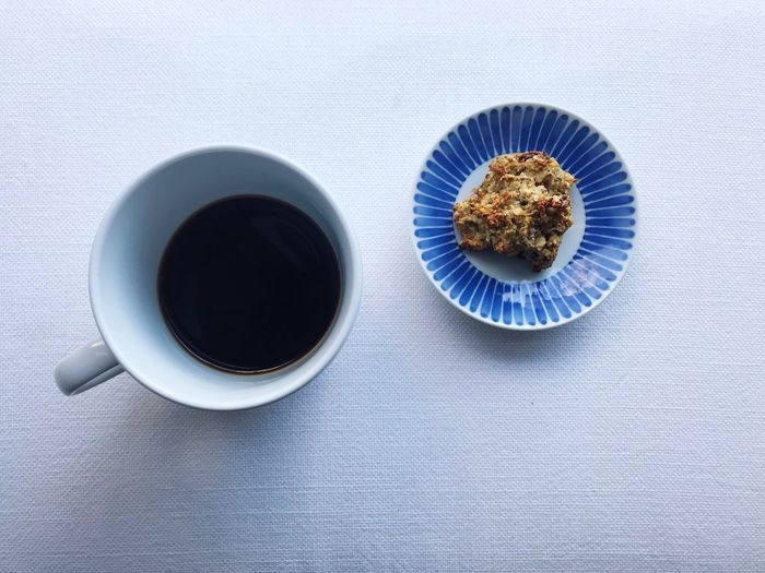 Food And Drink Drink Directly Above Cup Refreshment Mug Coffee - Drink Coffee Cup Coffee Indoors  Table Freshness Food Black Coffee Studio Shot Still Life Blue High Angle View Sweet Food No People