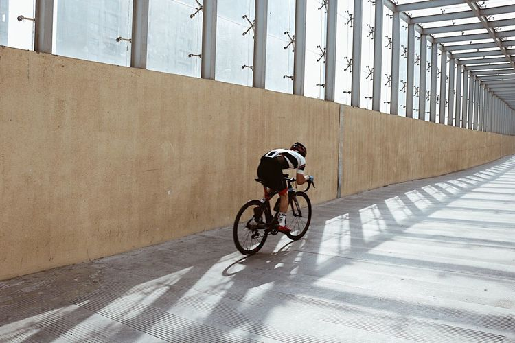 Man cycling on bicycle
