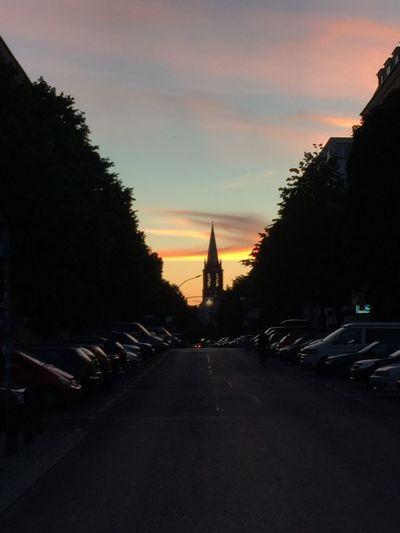 Sunset Cloud - Sky Building Exterior City Twilight Sunset Silhouettes Church