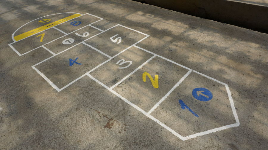 High angle view of hopscotch on footpath