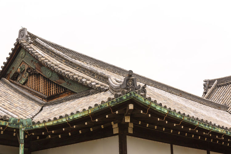 Roof Architecture Built Structure Roof Low Angle View Building Exterior Sky Clear Sky No People Building Religion Day Nature Belief Copy Space Place Of Worship Spirituality The Past History Outdoors Eaves Roof Tile Detail Details Japan Japan Photography Canon Canonphotography Historical Building Ancient Travel Destinations Travel The Traveler - 2019 EyeEm Awards Castle Hiroshima