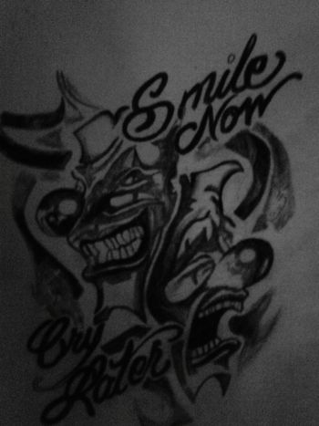 Ink Drawing Tattooflash Drawing ✏ Pencil Drawing Tattoovorlage Zeichnungen Black & White Schwarzweiß smile now, cry later ☆♧♣★
