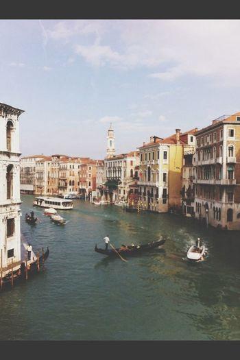 Ponte Di Rialto At Canal Grande Gondole In Venice
