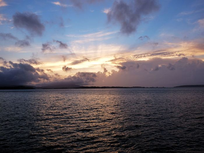Sunset Cloud - Sky Sea Landscape Seascape Islands Bridges Unstable Weather Sunlight Horizon Over Water Sea And Sky Scenics Tranquility Nature Beauty In Nature Dramatic Sky Outdoors