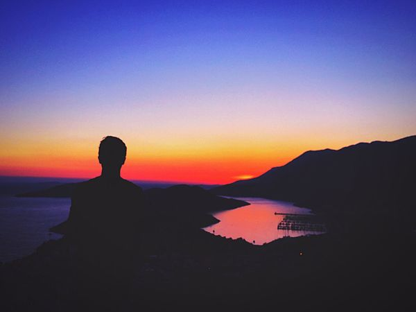 Man Silhouette Siluet Lonely Nature Sunset Kas Beauty In Nature Standing Freedom Camping