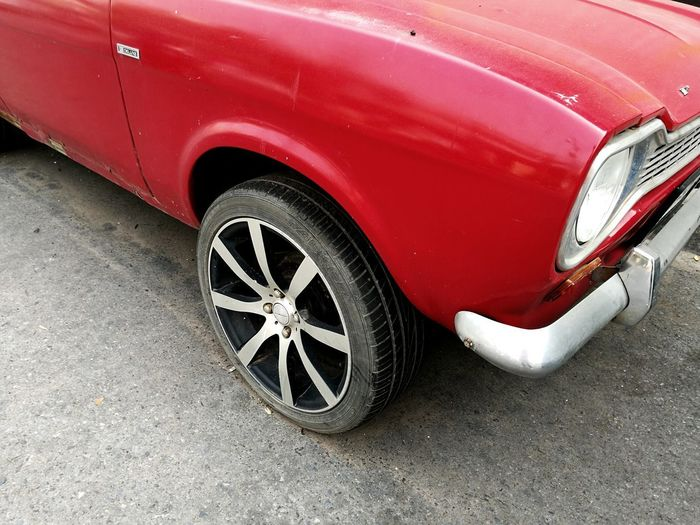 classic car Wheel Color On Road Streetphotography Car Classic Car No People On Street Tire Red Car 4x4 Wheel