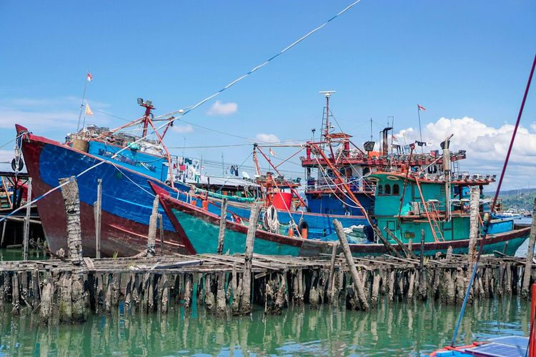 Fishing boats moored at harbor against clear blue sky