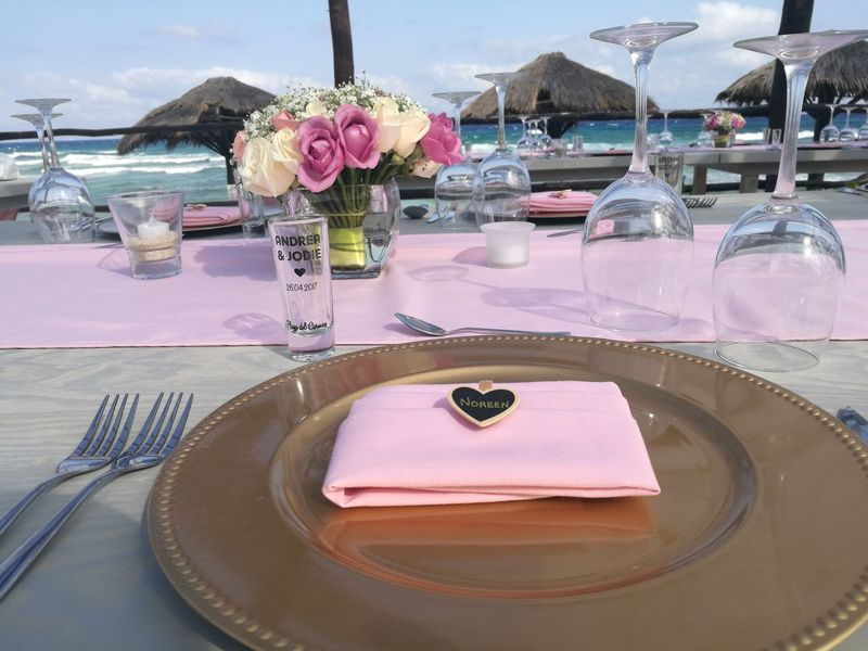 Table Water Luxury Beach Wedding Celebration Flower Sand Place Setting Sea Day Party - Social Event Vacations Adult Outdoors Food People Wedding Reception Wedding Table Decoration