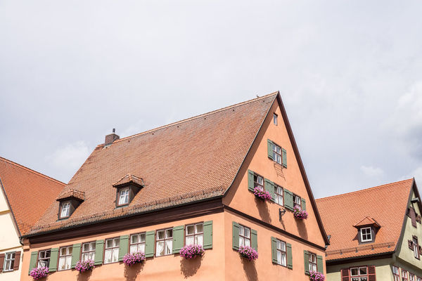 Architecture Building Building Exterior Built Structure City City Life Cloud Cloud - Sky Day Dinkelsbuhl Exterior Façade High Section Low Angle View No People Outdoors Residential Building Residential Structure Sky
