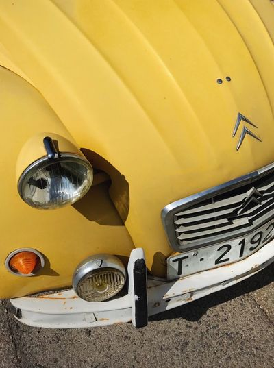 Citroen 2cv Citroen Yellow No People Day High Angle View Still Life Metal Sunlight Mode Of Transportation Close-up Transportation Car Motor Vehicle