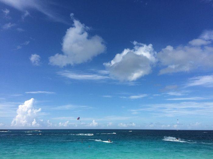People doing water sports in sea