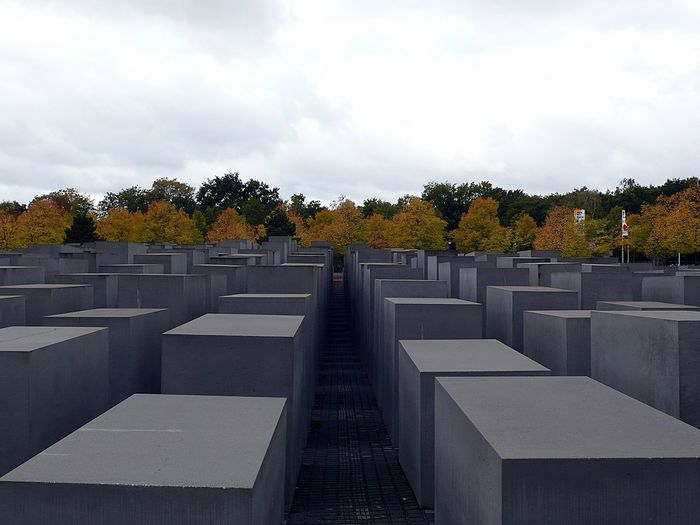 Berlin Memorial Perspective Concrete Architecture Outdoors Sky Trees In A Row Holocaust