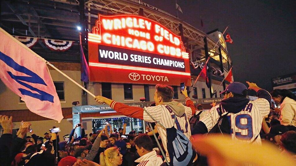 Best moment of 2016 captured Chicagocubs Flythew Chicago Large Group Of People Crowd First Eyeem Photo