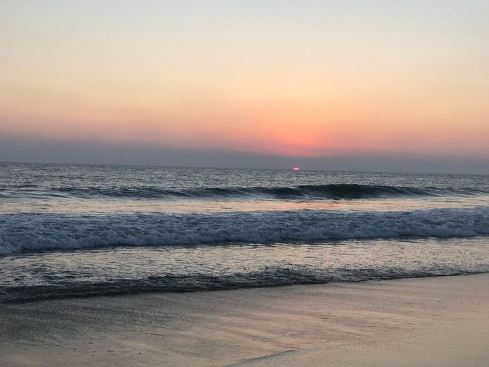 Beach Sunset Sea Beauty In Nature Nature Scenics Horizon Over Water Water Beach Tranquility Wave Tranquil Scene