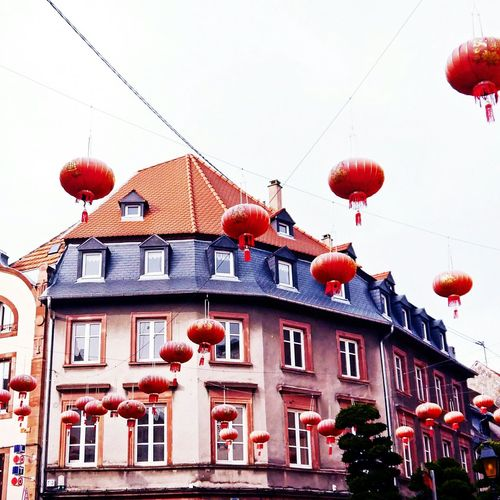 Overload, but oh so wonderful 🎎🎏🎐 Building Exterior Red Architecture Built Structure Chinese New Year Chinese Lantern Chinese Lantern Festival Celebration City Colorsplash TheWeekOnEyeEM EyeEmNewHere EyeEm Gallery Windows Windowporn Facades And Light Facades Facade Colours Facadelovers France Alsace France Springtime