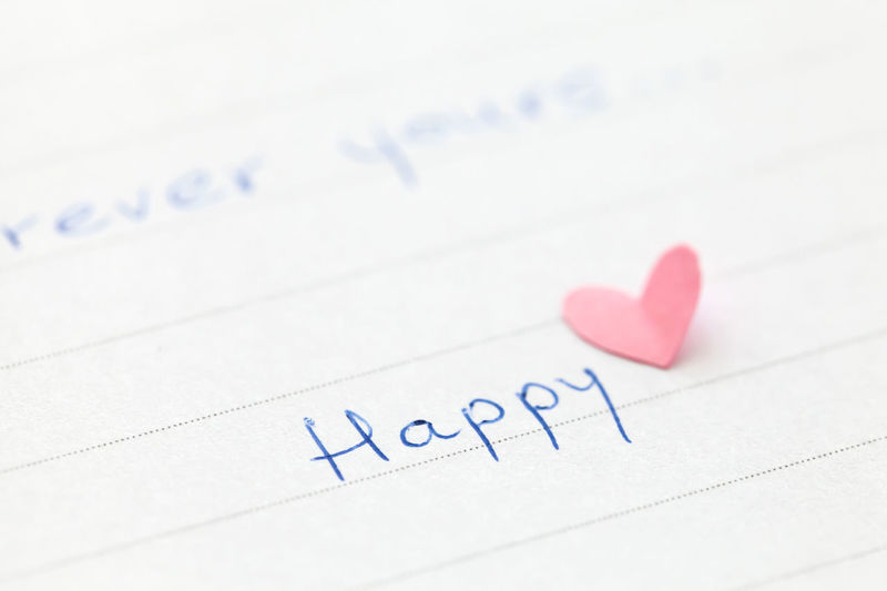 Close-up of happy text by heart shape on paper