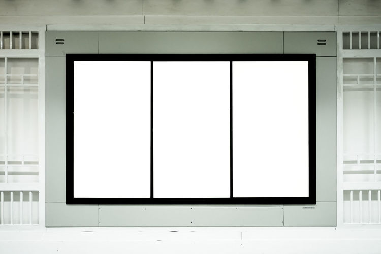 Three Vertical Blank Billboard Banner Useful For Advertising on Metro Station, Subway Advertisement Architecture Billboard Blank Built Structure City Copy Space Design Exhibition Flat Screen Frame Indoors  Marketing Modern No People Picture Frame Screen Technology Television Set Wall - Building Feature White Color